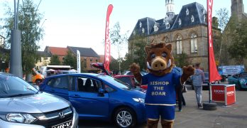 Bishop the Boar at the New Car Show in the Market Place