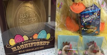 Giant golden Easter Egg and yellow Easter chick