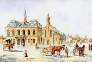 A watercolour print of the horses and carts in the Market Place, in front of Bishop Auckland Town Hall; by Eric Thompson