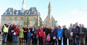 Carol Walk gathered outside of Bishop Auckland Town Hall