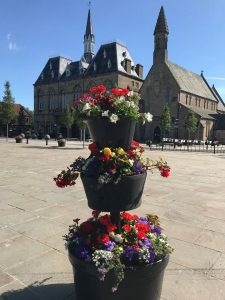A Floral Display in bloom, Bishop Auckland Market Place