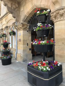 Floral display outside of Bishop Auckland Town Hall