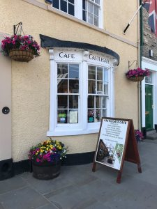 Entrance and display board of Castlegate Cafe