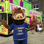 Bishop the Boar infront of the Total Brass bus
