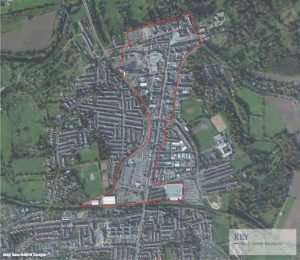 Ariel map outlining the Town Centre boundary