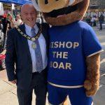Mayor David Fleming and Bishop the Boar