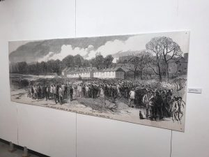 A black and white landscape drawing of The Batts in Bishop Auckland