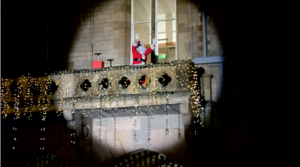 Santa Claus in the spotlight on Bishop Auckland Town Hall balcony