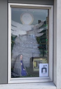Day 1, Advent Window display at Auckland Tower; Created by St Wilfrid's RCVA Primary School
