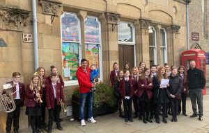 School Children outside of the Advent Window at Bishop Auckland Town Hall