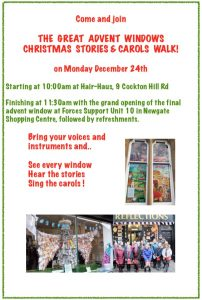 Advent Window Christmas Stories and Carols Walk 10am on Monday 24th December