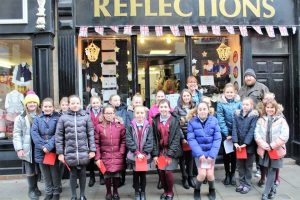 School Children at the Advent Window at Reflections Store