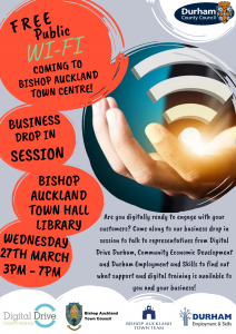 Free Public WiFi Drop in Session Flyer, Town Hall Library on Wednesday 27th March
