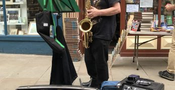 Busker, Jimmy Robinson playing the Saxophone