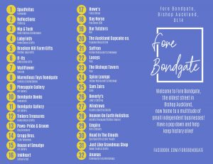 Fore Bondgate flyer with a list of 32 businesses