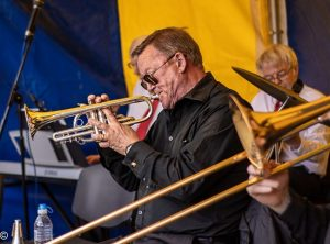 One of the Tees Valley Jazz Men playing the trumpet