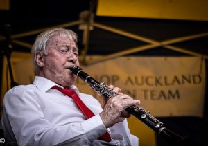 One of the Tees Valley Jazz Men playing the clarinet