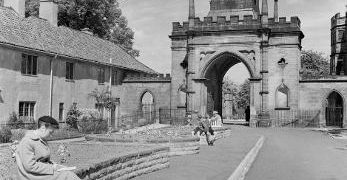 A black and white photograph of Auckland Castle Gate