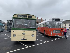 A collection of vintage buses on display in North Bondgate Car Park