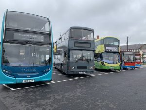 A collection of buses on display in North Bondgate Car Park