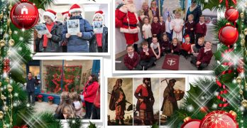 A collage of Advent Window photographs with festive border