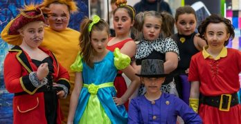 A group of dancers from Sandra Welsh School of Dance, dressed in costumes