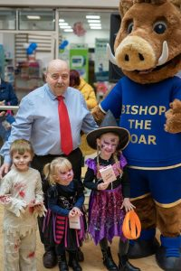 Newgate Centre Manager, David Wilson and Bishop the Boar with winners of the Best Dressed Competition