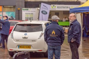 Town Team volunteers, Lee Brownson and Nigel Bryson at the EV Roadshow event