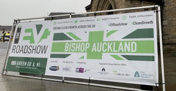 Ev Roadshow Bishop Auckland banner outside of St. Anne's Church