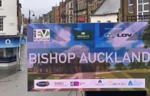 EV Roadshow Bishop Auckland banner on a LED outdoor display