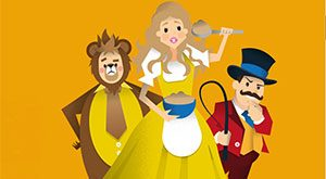 Cartoon picture of Goldilocks, with lion and lion tamer in the background