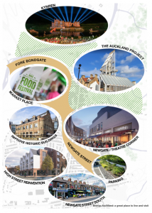 Bishop Auckland Masterplan, depicting key projects and areas